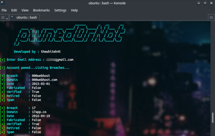 pwnedOrNot - OSINT Tool for Finding Passwords of Compromised Email Accounts